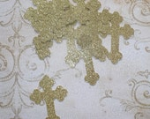 10 Gold Glitter 3 inch Cross Die Cuts Made from Cardstock Religious Easter Communion Baptism DIY Projects