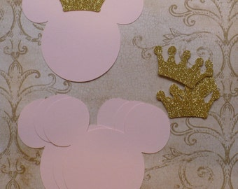 4 Baby Minnie Mouse Head Shapes Princess Gold Glitter Crowns Die Cut pieces for crafts DIY Kids Crafts Birthday Party Banners Tags etc.