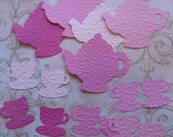 Embossed Teapots Tea Cups Die Cut pieces made from Sizzix die cut from Pink colors cardstock paper