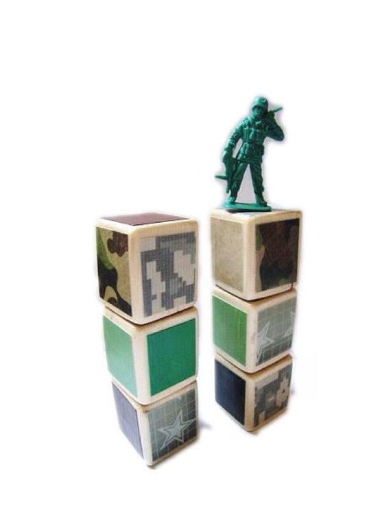 Army baby. Military. Camo / Camoflauge. Green. Wood Baby Blocks. Stocking stuffer for boys. room decor. Toddler Birthday.for Boys