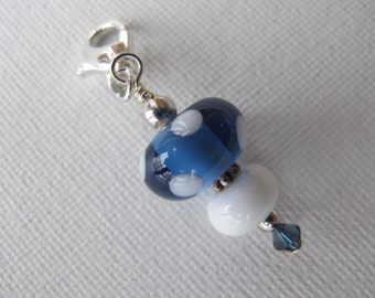 Blue and White Dotted Scissor Fob