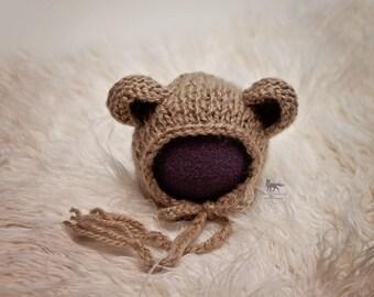 Knit Knitted Newborn Bear Bonnet