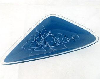 Modernist Abstract Serving Dish, Midmod Retro Kitsch Joseph Joseph Glass Triangular 'Chips' Graphic Script Platter Dish