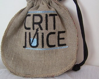 Crit Juice Dice Bag, Dungeons and Dragons Dice Pouch, Embroidered Linen and Silk Drawstring Bag