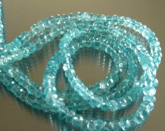 4 mm light blue facetted saucer apatite beads