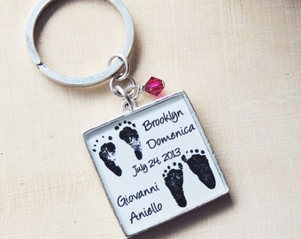 Baby Footprint Keychain - Baby Footprints - New Baby - Twins - Mother's Day - Father's Day - Baby Memorial - Stillborn - Infant Loss