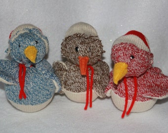 Handcrafted Personalized Sock Monkey Christmas Bird Ornament