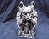 Gargoyle Statue, Statuary, Concrete, Awesome Detail, Natural Sealer With Antique Finish