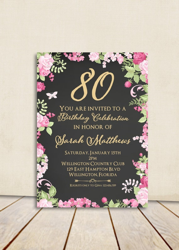 Cottage Chic Chalkboard 80th Birthday Invitation Any Age Adult Gold Vintage Floral Rose Printable Invite