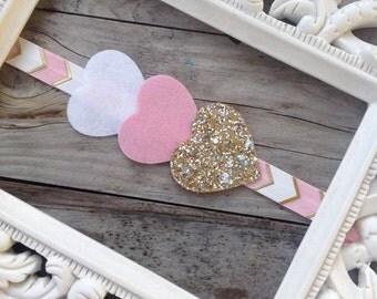 Pink Gold and White Chevron Headband glitter Heart Headband Baby Girl Headbands Photography Prop Newborn Headbands Girls Headband Toddlers