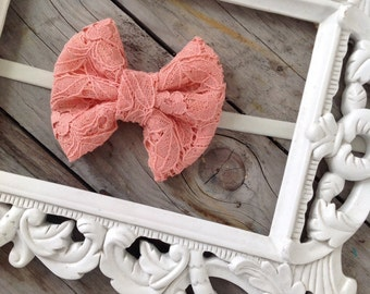 Coral Pink Lace Fabric Hair Bow Headband Baby Girl Headbands Newborn Headbands Baby Hair Bows Girls Headbands Newborn Headbands Photo Props