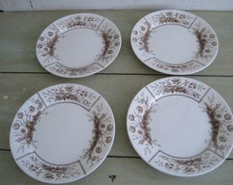 1800s victorian johnson brothers, 4 antique sylvan brown transferware ironstone plates