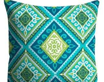 Outdoor Pillows, Blue Green Outdoor Pillows, Blue Turquoise Lime OUTDOOR Pillows, Throw Pillows, Blue Patio Pillows, Pillow Covers