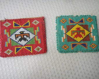Vintage Native American Thunderbird Beaded coin purses one red & blue