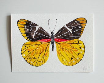 Yellow Butterfly - original watercolor illustration