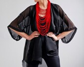 scarf necklace, textile necklace, strands necklace, textile jewelry, multistrand necklace, red necklace, blue necklace, jersey necklace
