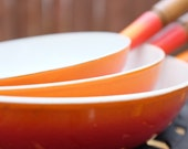 Set of 3 Matching Descoware Porcelain Coated Cast Iron Skillets Flame Orange White Enamel Interior - Made in Belgium - Cast Iron Le Creuset