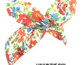 White with Multi colour hawaii floral print - Pin up Wire Rockabilly Headband