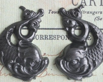 Koi Fish Brass Stampings, Black Satin Finish, left and right