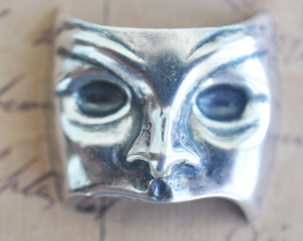 TWO Creepy Vaudeville Mask Brass Stampings, Sterling Silver Finish