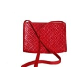 Vintage Red Purse Woven Design - Made in Italy - Crossbody Bag
