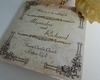 Lace Vintage Rustic Tri Fold Wedding Programs