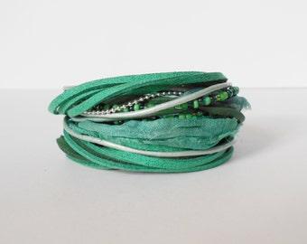 green glitter wrap bracelet, leather suede wrap bracelet, emerald bracelet, prom wrap bracelet, bridesmaid bracelet, bohemian wrap bracelet