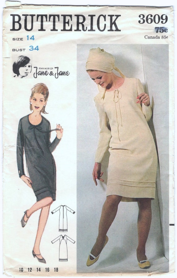 1960s Jane & Jane dress pattern by Jean Muir, Butterick 3609