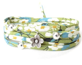 Spring green bracelet, Liberty fabric wrap with 3x silver beads & fine silver flower charm, UK gift ideas for best friend