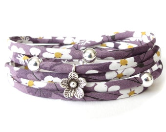 Birthday gift for wife, purple Liberty fabric bracelet with silver flower charm, modern textile wrap for young women