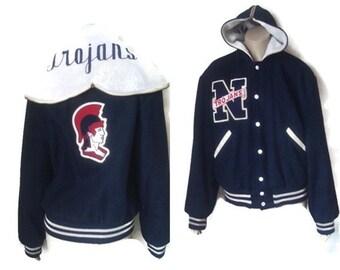 Vintage College Letterman Hooded Wool Jacket Trojans