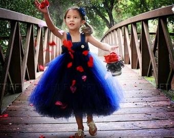 Navy Blue Flower Girl Tutu Dress