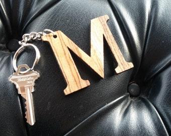 "Wooden Laser Cut Letter ""M"" Keychain"