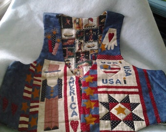 Quilted USA Vest