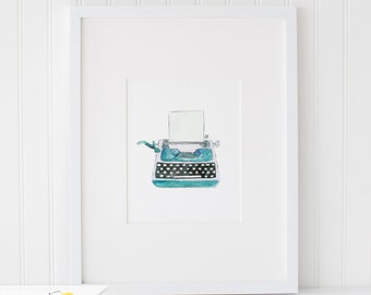 Watercolor Vintage Typewriter, Watercolor Painting, Wall Art Print - Art Drawing Watercolor Print - 5x7, 8x10, and 11x14