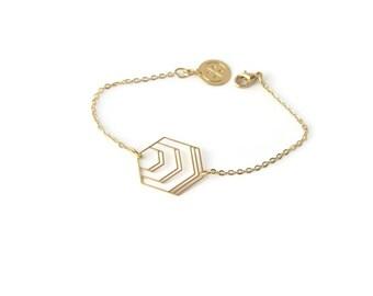 Bracelet Hexagone doré à l'or fin