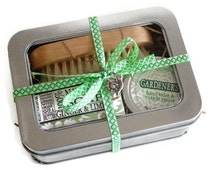 Gardener's Gift Tin / Gift for her, Birthday gift, Coworker gift / Shea Soap, Nail Brush and Healing Balm Cuticle Cream