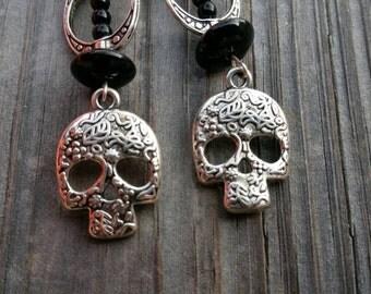 Gorgeous silver sugar skull earrings