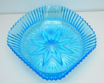 Blue Glass Fruit Bowl