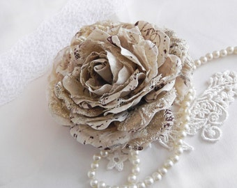 Vintage inspired Gold and Cream Linen, Silk Organza and Lace Hair Flower