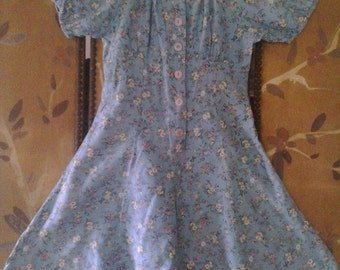 Girls blue flowered playsuit