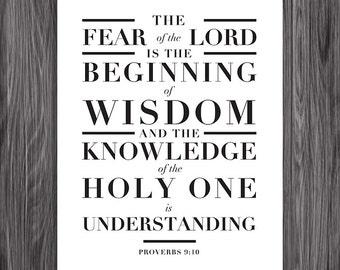 Proverbs 9:10. Beginning of Wisdom. 8x10. DIY Printable Christian Poster. PDF. Bible Verse.