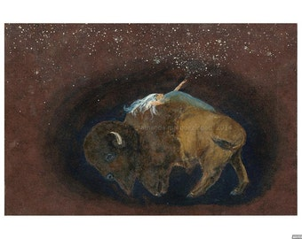 Where Stars Come From. Print of original painting of woman and bison. 9 x12 giclee. Acid-free paper. Printed in Berkeley, CA.