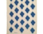 Lanterns Tea Towel Navy blue on off-white linen