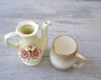 Vintage Porcelain Milk Pitchers, Mid Century Shabby Creamers Off White golden Pink Floral French country Kitchenware Cafe Restaurant Serving