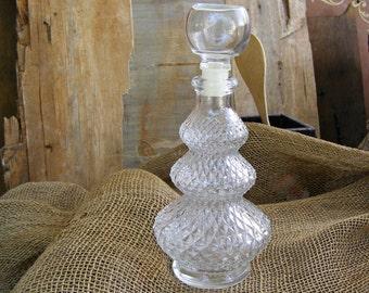 Mid century Textured Glass Whiskey Bottle, Vintage Ornate Wine Decanter, Mad men inspired Barware Home Office Decor Wine Bottle Gift For Man