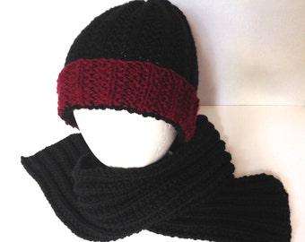 Knitted Hat and Scarf Set, Slouch Hat, Garnet Black Cap Hat, College Sport Team, South Carolina Gamecocks