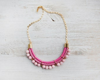 PrettyLover Statement Pink colors Jade Necklace by Pardes