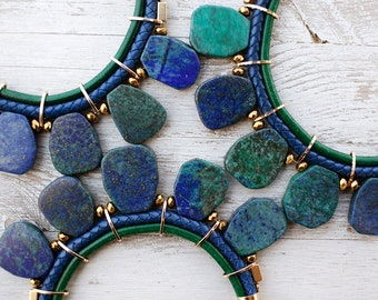Bold Statement navy and green chrysocolla Necklace by Pardes