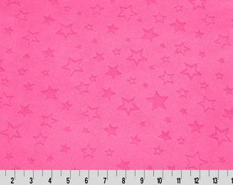 Fuchsia Embossed Stars Minky From Shannon Fabrics
